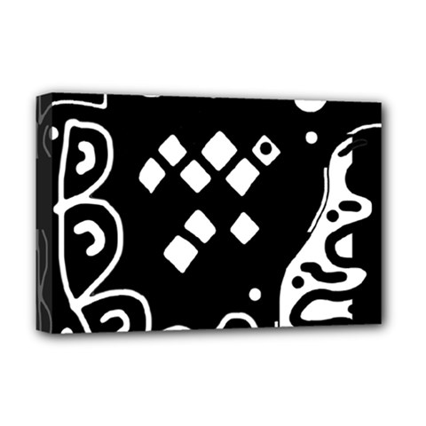 Black and white high art abstraction Deluxe Canvas 18  x 12