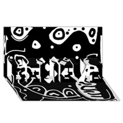 Black and white high art abstraction BELIEVE 3D Greeting Card (8x4)