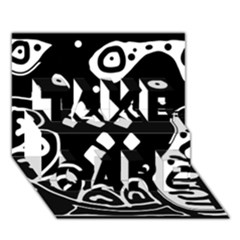 Black and white high art abstraction TAKE CARE 3D Greeting Card (7x5)
