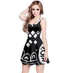Black and white high art abstraction Reversible Sleeveless Dress