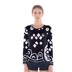 Black and white high art abstraction Women s Long Sleeve Tee