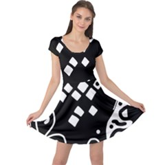 Black and white high art abstraction Cap Sleeve Dresses