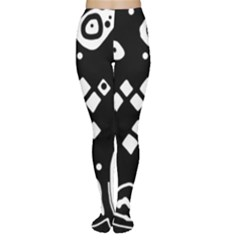 Black and white high art abstraction Women s Tights