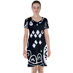 Black and white high art abstraction Short Sleeve Nightdress