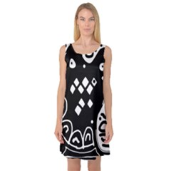 Black and white high art abstraction Sleeveless Satin Nightdress