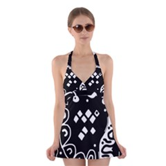 Black and white high art abstraction Halter Swimsuit Dress