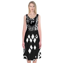 Black And White High Art Abstraction Midi Sleeveless Dress