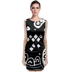 Black and white high art abstraction Classic Sleeveless Midi Dress