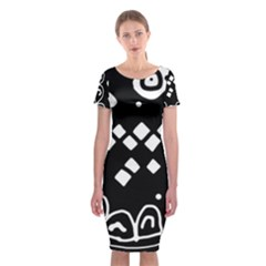 Black and white high art abstraction Classic Short Sleeve Midi Dress