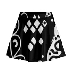 Black and white high art abstraction Mini Flare Skirt