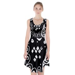 Black and white high art abstraction Racerback Midi Dress