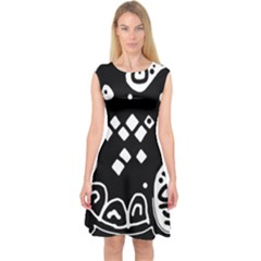Black and white high art abstraction Capsleeve Midi Dress