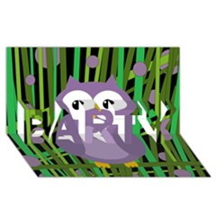 Purple owl PARTY 3D Greeting Card (8x4)