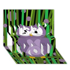 Purple owl Miss You 3D Greeting Card (7x5)