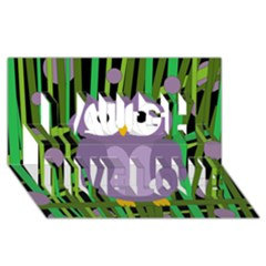 Purple owl Laugh Live Love 3D Greeting Card (8x4)