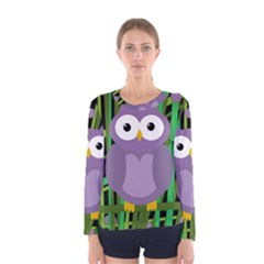 Purple owl Women s Long Sleeve Tee