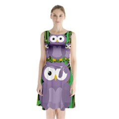 Purple owl Sleeveless Waist Tie Dress