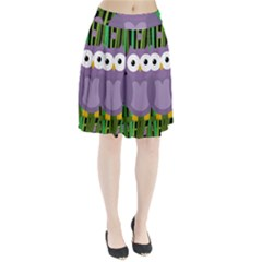 Purple owl Pleated Skirt