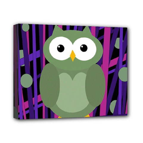 Green and purple owl Canvas 10  x 8