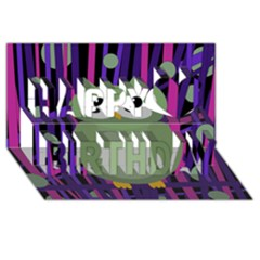 Green and purple owl Happy Birthday 3D Greeting Card (8x4)