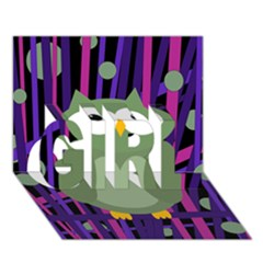 Green and purple owl GIRL 3D Greeting Card (7x5)