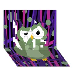 Green and purple owl LOVE 3D Greeting Card (7x5)
