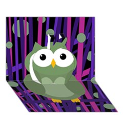 Green and purple owl Apple 3D Greeting Card (7x5)