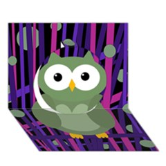Green and purple owl Circle 3D Greeting Card (7x5)