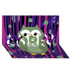 Green and purple owl SORRY 3D Greeting Card (8x4)