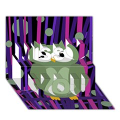 Green and purple owl Miss You 3D Greeting Card (7x5)