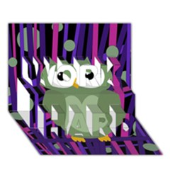 Green and purple owl WORK HARD 3D Greeting Card (7x5)