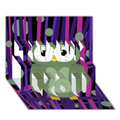 Green and purple owl THANK YOU 3D Greeting Card (7x5)