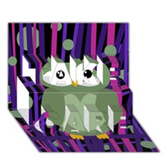 Green and purple owl TAKE CARE 3D Greeting Card (7x5)