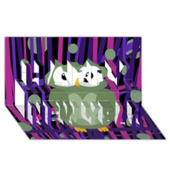 Green and purple owl Happy New Year 3D Greeting Card (8x4)