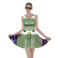 Green and purple owl Skater Dress