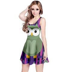 Green and purple owl Reversible Sleeveless Dress