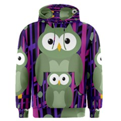 Green and purple owl Men s Pullover Hoodie