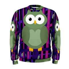 Green and purple owl Men s Sweatshirt