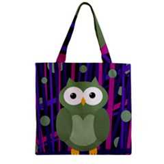 Green and purple owl Zipper Grocery Tote Bag