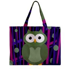 Green and purple owl Zipper Mini Tote Bag