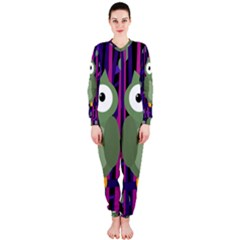 Green and purple owl OnePiece Jumpsuit (Ladies)