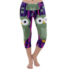 Green and purple owl Capri Yoga Leggings