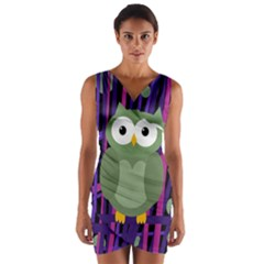 Green and purple owl Wrap Front Bodycon Dress