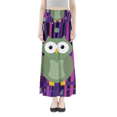 Green and purple owl Maxi Skirts