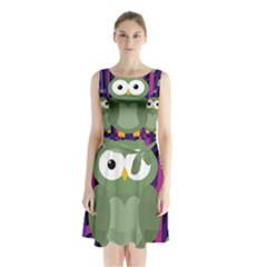 Green And Purple Owl Sleeveless Waist Tie Dress