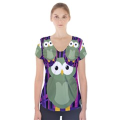 Green And Purple Owl Short Sleeve Front Detail Top