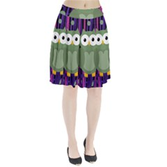 Green and purple owl Pleated Skirt
