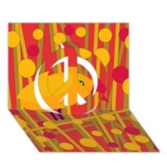 Yellow bird Peace Sign 3D Greeting Card (7x5)