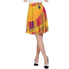 Yellow bird A-Line Skirt