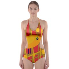 Yellow Bird Cut Out One Piece Swimsuit